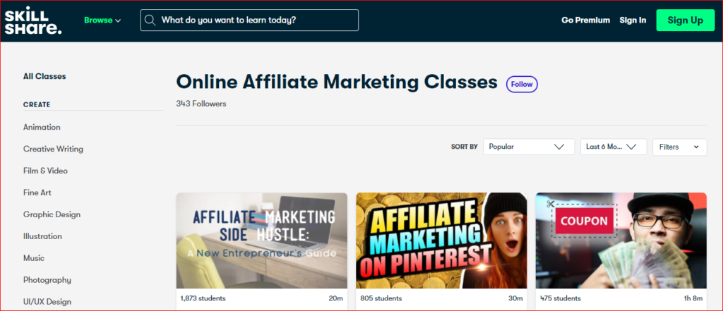 Skillshare- Affiliate Marketing Course